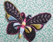 Vintage Applique 1920s 1930s Sew On Fabric Applique Small Butterfly Black Silver Blue 20s 30s Antique Dress Trim