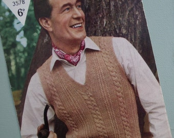 Vintage 1940s 1950s Knitting Pattern Mens Sleeveless Pullover Vest 40s 50s original pattern cable design