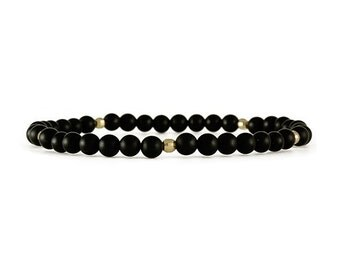 Onyx and Gold layering bracelet