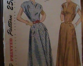 1950s Vintage Simplicity Dress Pattern 2792 Dress, sizes 12 Bust 30