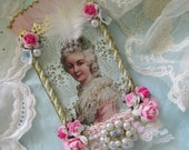 Marie Antoinette Mixed Media Original Collage ATC ACEO with PInk Roses and Vintage Jewelry