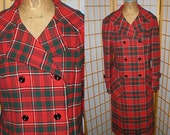 Vintage 60s mod double breasted red plaid wool coat  by Pendleton womens size large