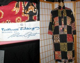 Vintage 70s batik  tunic dress by Catherine Ogust womens size medium / large