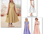 GIRLS DRESS PATTERN / Make Child Flower Girl - First Communion Fancy Dress / Sizes 7 to 10 Or 12 to 16