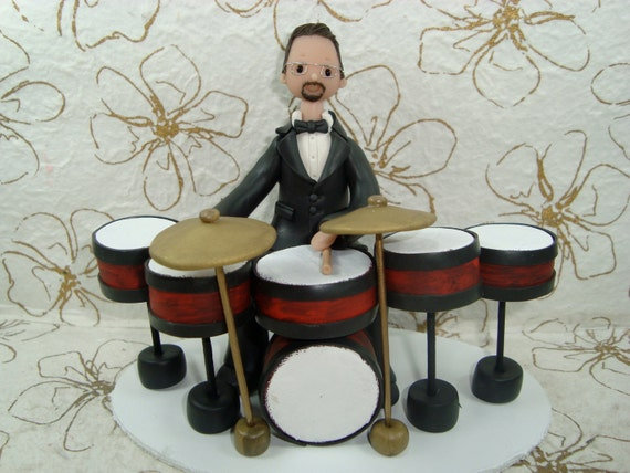 drum wedding cake toppers single figure with drums cake topper by mudcards on etsy 13758