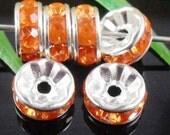 Vintage 10 Bright Orange Crystal Silver Plated Spacer 8 mm Beads GR8
