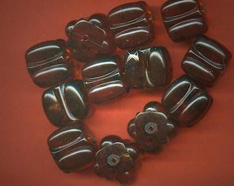 Vintage 12 Rootbeer Brown Carved Cube Shaped 13x13mm Beads J5L