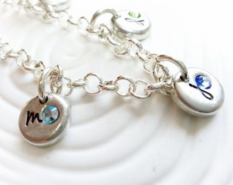 Bracelet - Personalized Hand Stamped Charm Bracelet - Initial and Birthstone Mother's or Grandmother's Bracelet - Mother's Day Gift