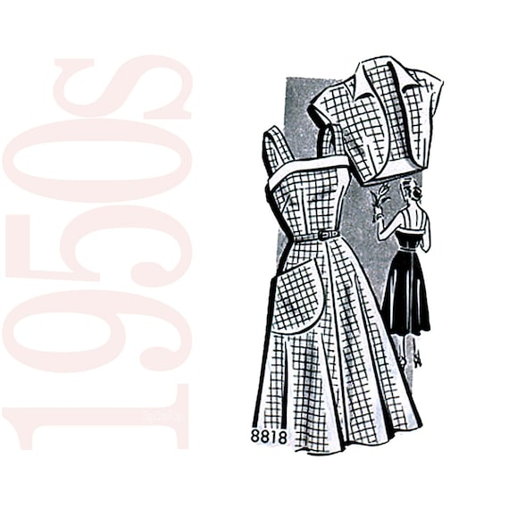 1950s Vintage Sewing Pattern - Vintage Dress Pattern - 37 Bust Dress Pattern - Womens Vintage Sewing Pattern - - Mail Order 8818