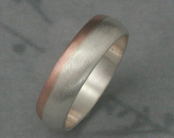 14K Rose Gold and Silver Ring--Two Tone Band--Modern's Men's Band--Men's Wedding Band--6mm Wide Band--Men's Wedding Ring--Two Tone Band