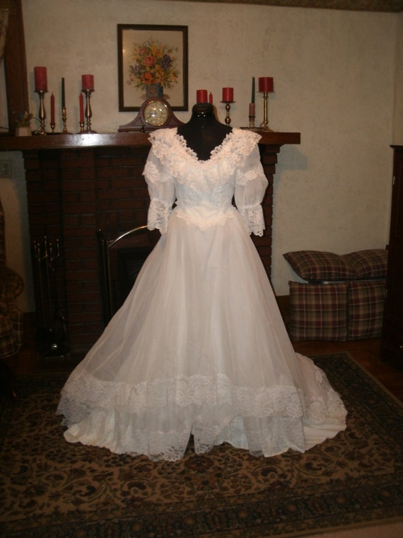 Items Similar To Bohemian Prairie Style Bright White Chiffon Traditional Civil War Style Wedding