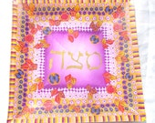 Matza Plate for Seder - Passover vernal Decorated  - made for order