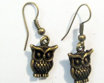 Pair of Brass Owl Earings Jewelry Accessories Charm Gift