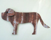 Reserved for Marlene Animal metal art sculpture St bernard and Chihuahua stakes doggy decor
