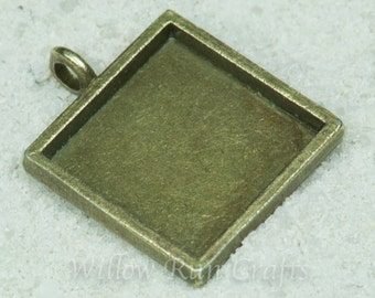 10 pcs 16mm Square Pendant Trays Antique Bronze or Silver, Blank Bezel Cabochon Setting