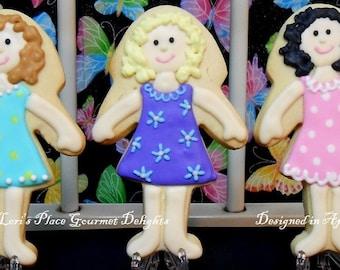 Rag Doll Cookies - Ballerina Girl Cookies - 12 Cookies