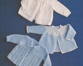 "PDF Knitting Pattern for Baby Matinee Coat/Cardigan x 3 sizes 18-20"" (KY13)"