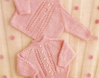 "PDF Knitting Pattern Baby Knitted Matinee Coat and Cardigan 16-20"" (KY132)"