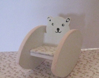 Dollhouse Bear Rocking chair,  Pink and White, with rosebud seat cushion.   twelfth scale dollhouse miniature