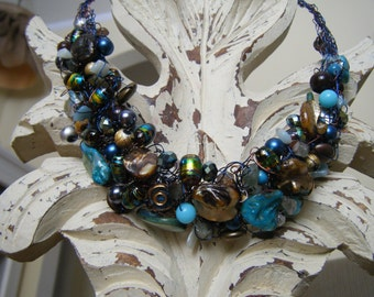 Sweet Patina Crocheted Wire Necklace