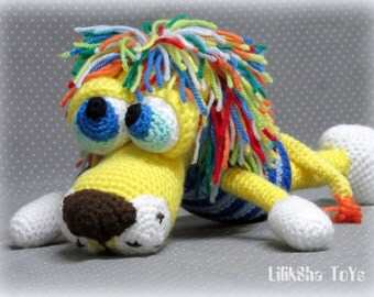 Crochet toy Amigurumi Pattern - Atan, The Lion with a rainbow mane.