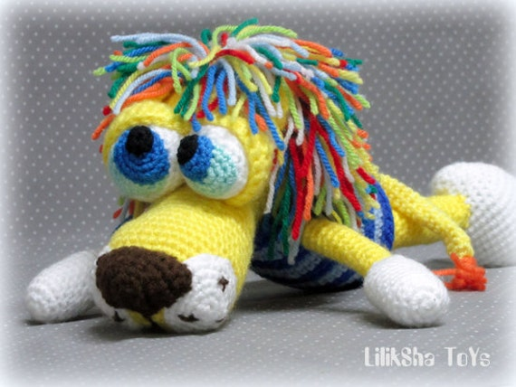 Crochet toy Amigurumi Pattern - Atan, The Lion with a rainbow mane.