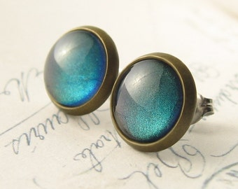 Deepest Pools of Blue Post Earrings Antiqued Brass Stud Earrings Color Shift Hypoallergenic