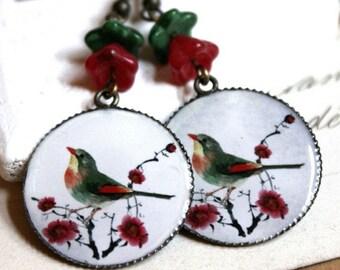 FALL SALE Bird Earrings Red Flower Sterling silver HOOKS or Clip Earrings Sage Green Long Dangle Earrings boucle d'oreilles enamel E159