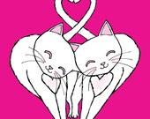 The Headbutt White Kitty Cats 8 x 10 Art Print