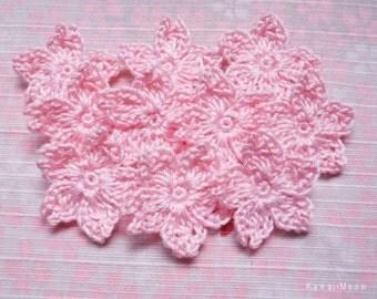 Crochet Applique Motif Flowers Set of 10 Sakura Cherry Blossoms (A)