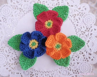 Kawaii Crochet Applique Motif Flowers Set of 9 (B)