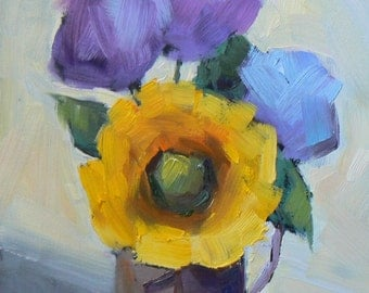 """Floral Still Life,Flower Painting,  Small Oil Painting, 6x8 Still Life, """"Sunflower and Hydrangea"""", Daily Painting"""