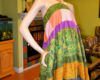 Gypsy Hippie Patchwork Skirt  Or Halter Top