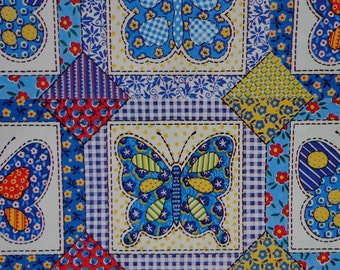 Vintage 1970s Gift Wrap All Occasion Calico Patchwork Butterflies-Blue and Yellows
