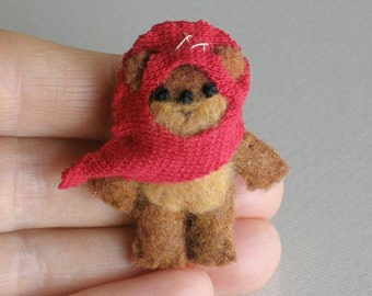 Ewok miniature plush Star Wars character - hand stitched felt