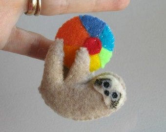Sloth with Beach Ball  miniature felt plush stuffed animal with bendable legs and hand painted face -rain forest animal