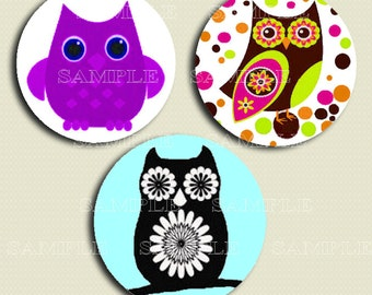 "OWLS  -  1"" CIRCLE - Digital Collage Sheet - Printable - Instant Download"