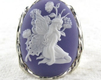 Butterfly Fairy Purple Cameo Ring Sterling Silver Custom Jewelry