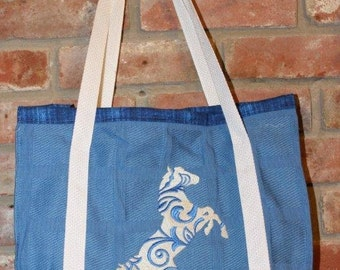 Horse  Embroidered  Tote Bag Carry All.