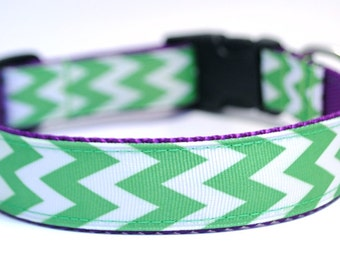 Color Chevron Stripe Dog Collar - 12 Colors to Choose From
