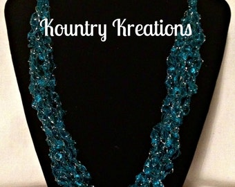 Ladder Yarn Necklace,Crocheted Ribbon Necklace, Fiber Jewelry, CLASSY RICH TEAL Ladder Necklace (Ready to Ship)