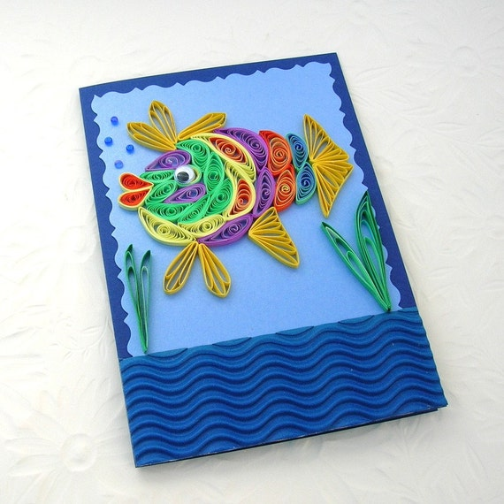 Paper Quilling Greeting Card Paper Quilled Rainbow Turquoise FISH Birthday Congratulations Anniversary Ocean Handmade by Enchanted Quilling