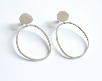 Sterling Silver Pebble and Abstract Hoop Earrings, Gift for her, Statement Earrings, Organic Shaped Earrings, Gift for women