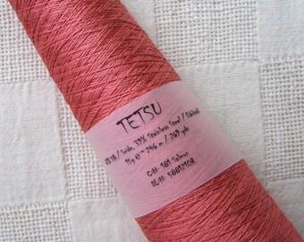 Lace yarn TETSU silk/stainless steel salmon  ITO yarns 15g