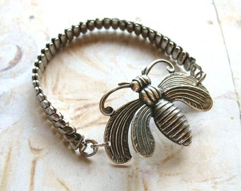 Moth Bracelet - Antiqued Silver Tone Vintage Watch Strap Bracelet with Beautiful Art Deco Style Moth