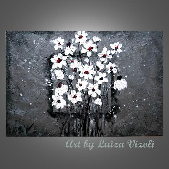 Abstract Modern Original Painting White Flowers on Silver Palette Knife Textured Metallic Artwork 36x24 by Luiza Vizoli