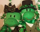 ON SALE St Patty Sock Monkey Doll,  Couple with Baby Handmade, Dressed St. Patricks Day, Sock Family Personalized OOAK