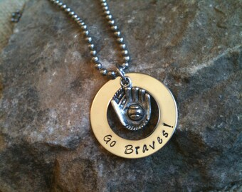 Hand Stamped Jewelry  Baseball Sport Atlanta Braves Charm Necklace Pendant