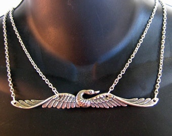 Flying Swan Double Chain Necklace SP