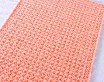 Crochet Pet Blanket - Peach